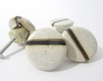 Cabinet Knobs, Drawer Knobs, Ceramic Door Knobs, Drawer Pulls, White Cream,  With Brown, Black Stripe, Handmade Door Furnishings