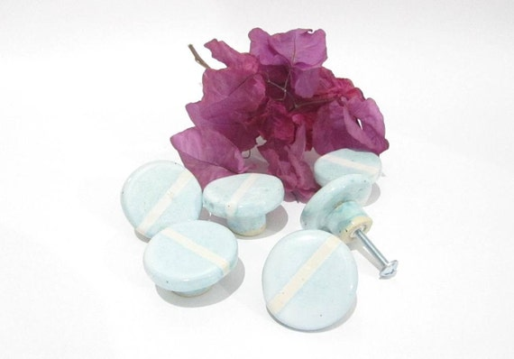 Cabinet Knobs Ceramic Door Pulls Round Handles Handmade | Etsy