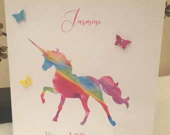 Personalised Unicorn Card Daughter, Birthday Card, 5th, 6th, 8th, 10th, 18th, 21st, 30th, 40th, 50th Rainbow Unicorn, Unicorn Card