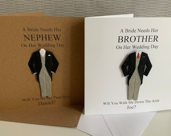 Personalised Will You Be My Best Man Card, Page Boy, Usher, Give Me Away, Groomsman, Witness, Dad, Brother, Nephew