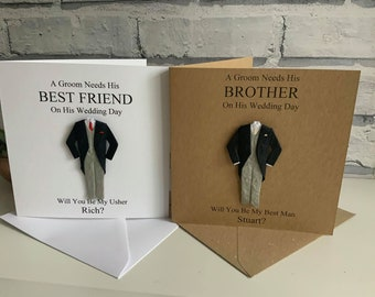 Personalised Will You Be My Best Man Card, Usher, Page Boy, Groomsman, Witness, Dad, Brother, Best Friend