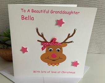 Personalised Christmas Card Daughter, Niece, Cousin, Granddaughter, etc. Reindeer