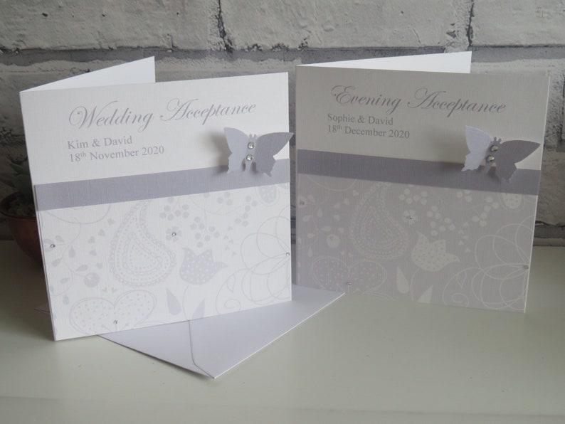 Silver Wedding Acceptance Card Wedding Regret Card Evening Acceptance Evening Acceptance Card Wedding Acceptance Card