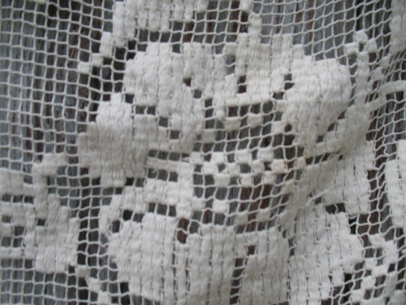 27.5 square. Antique french cotton filet lace curtain or cloth with floral motif