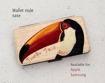 iPhone Case (all models) - Toucan Talk #1 - Vintage Illustration  - Wallet style flip case -  Samsung Galaxy S7,S8,S9, S10, S20 & more