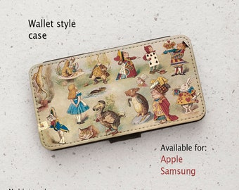 iPhone Case (all models) - Alice in Wonderland Characters - wallet flip case -  Samsung Galaxy S6 - S20 Plus & more