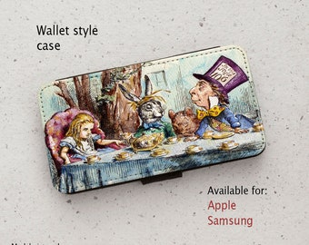 iPhone Case (all models) - Alice in Wonderland - Tea Party - Wallet style flip case -  Samsung Galaxy S6,S7Edge,Note5,S8,S9 & more