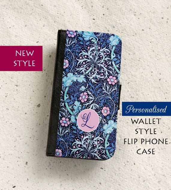 pour iPhone (tous modèles) - style portefeuille de William Morris - personnalisé - Naif - Samsung Galaxy S6, S7Edge, Note5, S8, S9 & plus