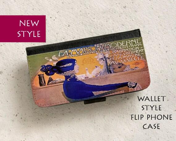 iPhone Case (all models) - La Maison Moderne - Vintage French Art Nouveau  Poster - wallet flip case - Galaxy S6,S7Edge,S8,S9 & more
