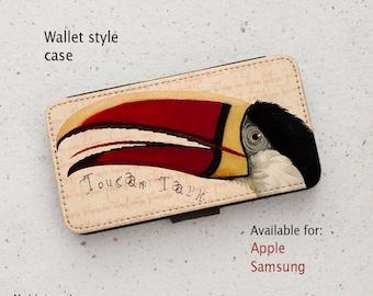 iPhone Case (all models) - Toucan Talk #3 - Bird Illustration - Wallet flip case -  Samsung Galaxy S7, S8, S9, S10, S20 & more