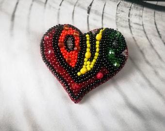 Colorful Heart brooch, Bead embroidery Heart brooch, Graffiti LOVE letter, Beaded Love Heart Brooch, Hippie style brooch, Summer 2018 Fest
