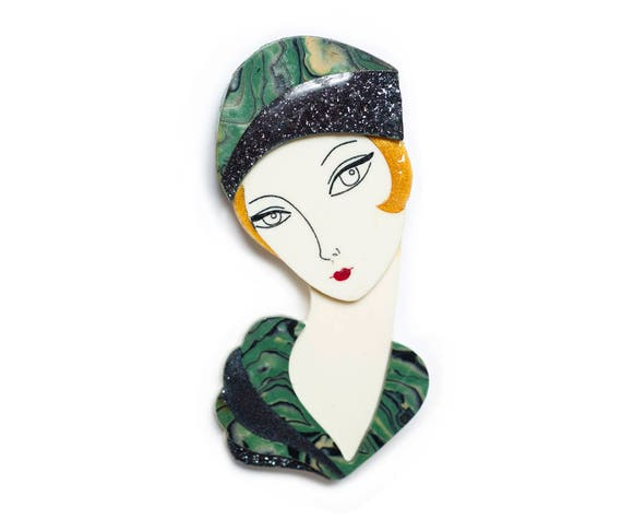 Flapper Olive Brooch by LaliBlue