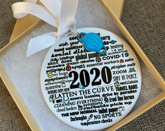 2020 PORCELAIN, the ORIGINAL pandemic ornament,2020 ornament, silver linings, original artist, best seller, two unique printed sides
