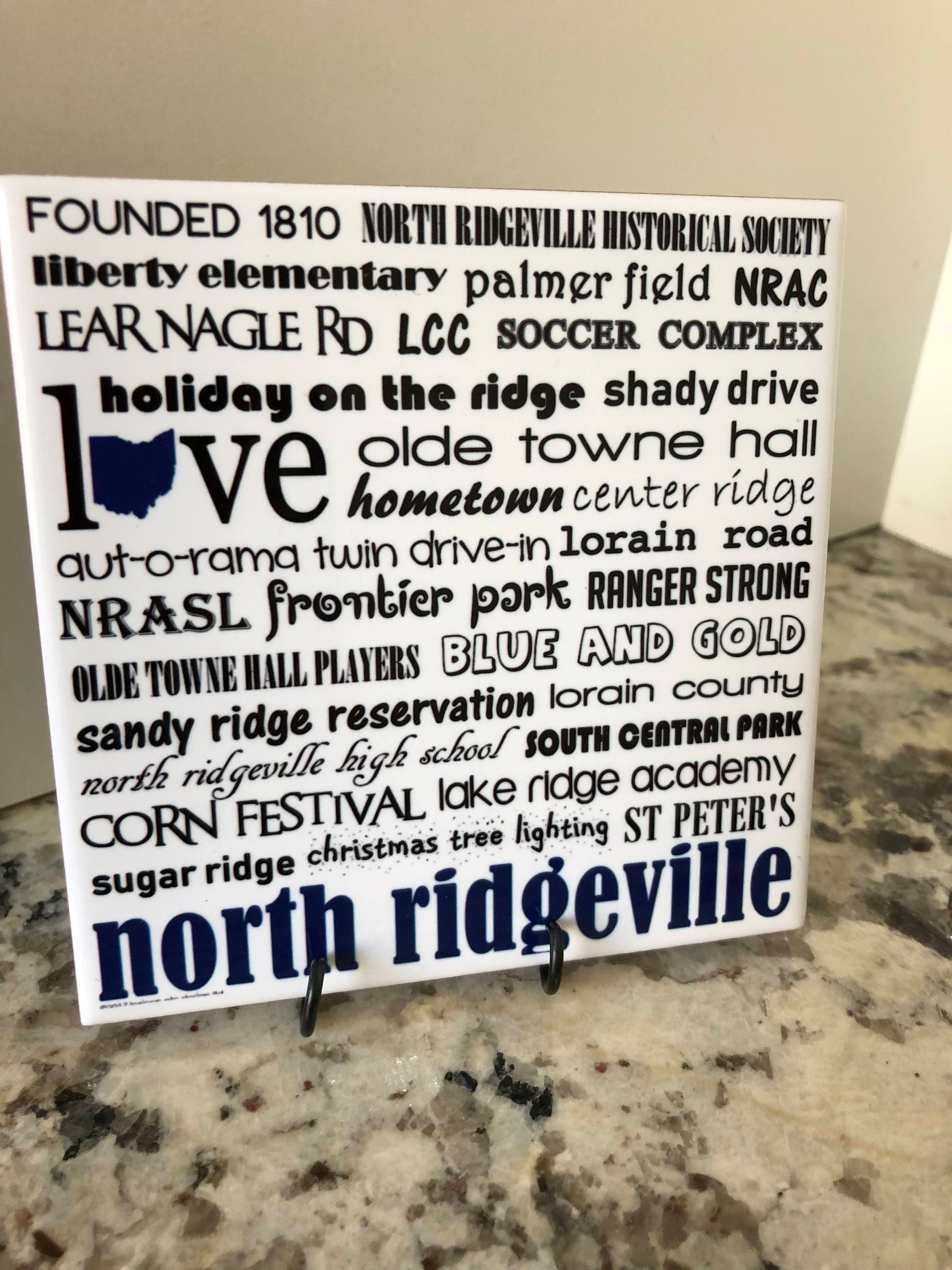 NORTH RIDGEVILLE ohio 4x4 Art Tile can be personalized | Etsy