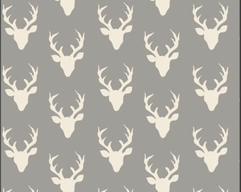 Tiny Buck Forest Mist Fabric, Hello Bear Collection, by Bonnie Christine for Art Gallery Fabrics, HBR-4440 Deer Head