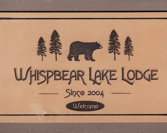 Personalized Pine Wooden Camp Sign - Lodge Style Custom Decor - Signs with Bears - Cabin Sign featuring Bear - Customized Cabin Sign