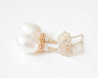 Bridal Earrings Gold Pearl and Crystal, Wedding Earrings Gold, Gold Pearl Earrings, Freshwater Pearl Jewelry