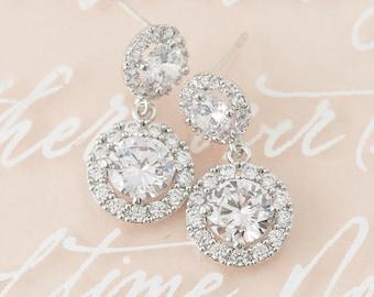 Crystal Bridal Earrings, Round Wedding Earrings, Halo Crystal Earrings, Wedding Jewelry