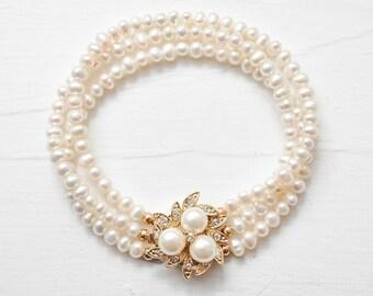 Gold Bridal Bracelet, Freshwater Pearl Bridal Gold Bracelet, Gold Pearl Wedding Bracelet