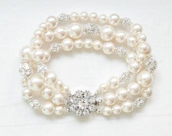 Pearl Bracelet Wedding, Swarovski Bridal Bracelet, Pearl Bridal Jewelry Bracelet