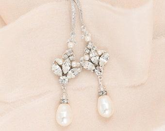 Bridal Earrings Chandelier, Bridal Earrings Vintage, Bridal Jewelry, Earrings Pearl and Crystal
