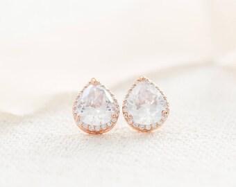 Rose Gold Bridal Earrings, Rose Gold Studs, Rose Gold Crystal Earrings, Wedding Earrings, Teardrop Studs