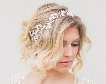 Bridal Hair Vine, Bridal Halo Headpiece, Bridal Pearl Headpiece, Wedding Accessories