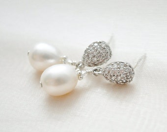 Freshwater Pearl Bridal Earrings Vintage Style, Pearl Wedding Earrings Dangle, Pearl Drop Earrings, Wedding Jewellery