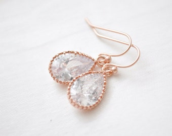 Bridal Earrings Rose Gold, Teardrop Crystal Earrings, Pink Gold CZ earrings, Bridesmaid Earrings, Bridesmaid Jewellery
