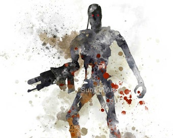 Terminator Endoskeleton ART PRINT illustration, Movie, Film, Wall Art, Home Decor, Science Fiction