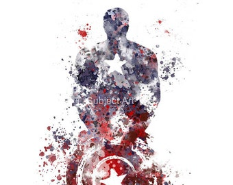 Captain America ART PRINT illustration, Superhero, Home Decor, Wall Art, Marvel