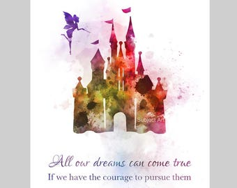 Disney Castle inspired Quote ART PRINT illustration, Princess, Nursery, Wall Art, Home Decor