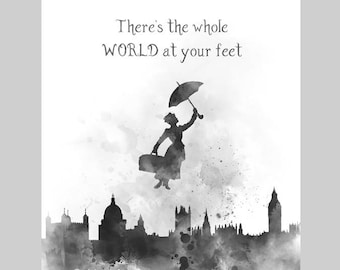 ART PRINT Mary Poppins Quote 3 illustration, Black and White, Disney, Home Decor, Wall Art, Nursery, Gift