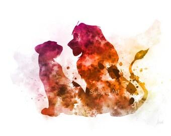 Simba and Nala, The Lion King inspired ART PRINT illustration, Disney, Wall Art, Home Decor, Nursery