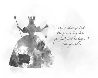 Glinda the Good Witch Quote ART PRINT illustration, Black and White, Nursery, Wizard of Oz, Movie, Wall Art, Home Decor, Gift