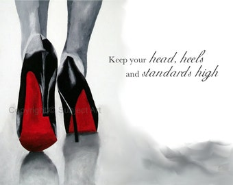 Art Print of CHRISTIAN LOUBOUTIN Black Shoes 'Fashion Quote' Fashion Gifts, Wall Art, Home Decor