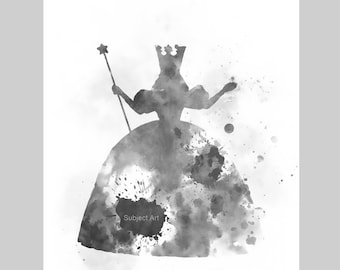 Glinda the Good Witch Inspired ART PRINT illustration, Wizard of Oz, Black and White, Nursery, Wall Art, Home Decor, Gift