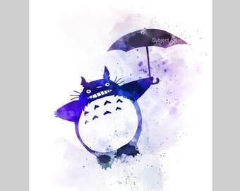 Totoro Holding Umbrella inspired ART PRINT illustration, Wall Art, Home Decor, Nursery, Studio Ghibli, My Neighbor Totoro, Gift