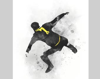 Eric Cantona ART PRINT illustration, Kung Fu Kick, Manchester United, Football, Home Decor, Wall Art, Red Devil, Sport, Gift