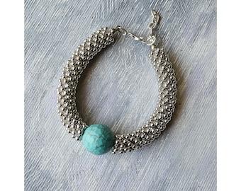 Turquoise Stone Bracelet, Blue Gemstone Bracelet