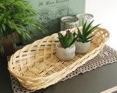 Woven Basket, Large Bread Basket, Wicker Tray Centerpiece, Vintage Wall Decor Basket, Southwestern Boho Wall Hanging, Natural Basket 15 quot
