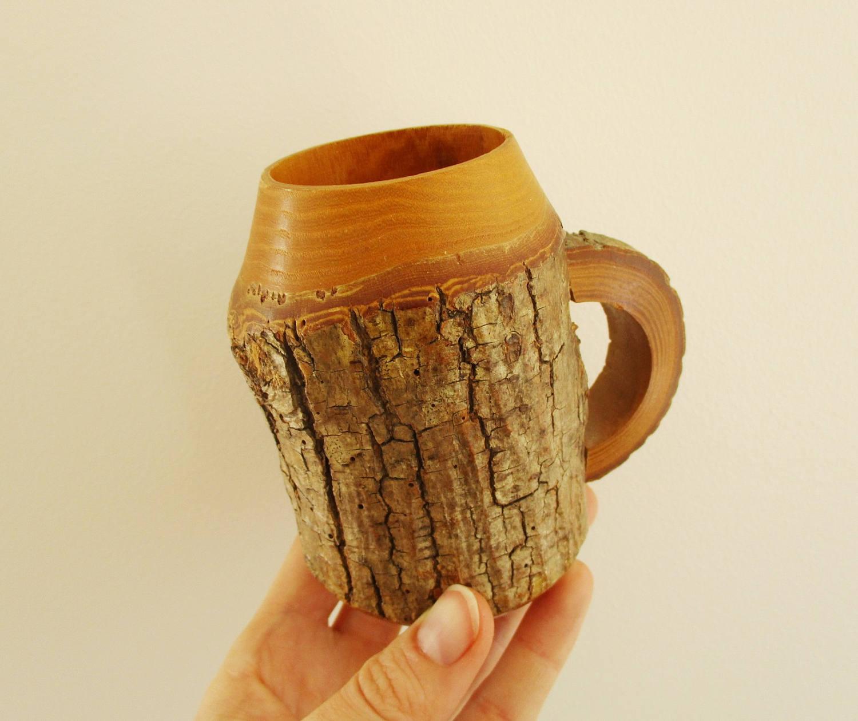 Wood Mug with Tree Bark Wood Cup Beer Stein Vintage Hand