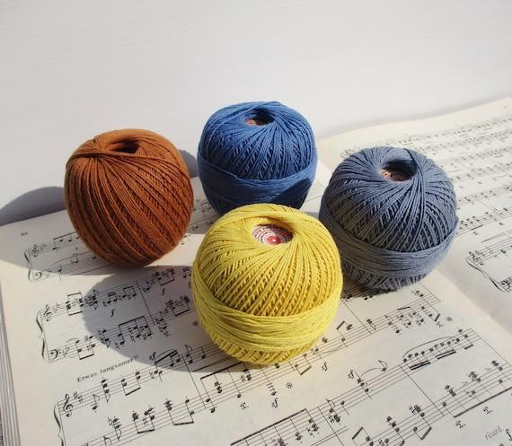 Crochet Thread Lot 4 Cotton Threads 4x50 Grams Vintage Etsy