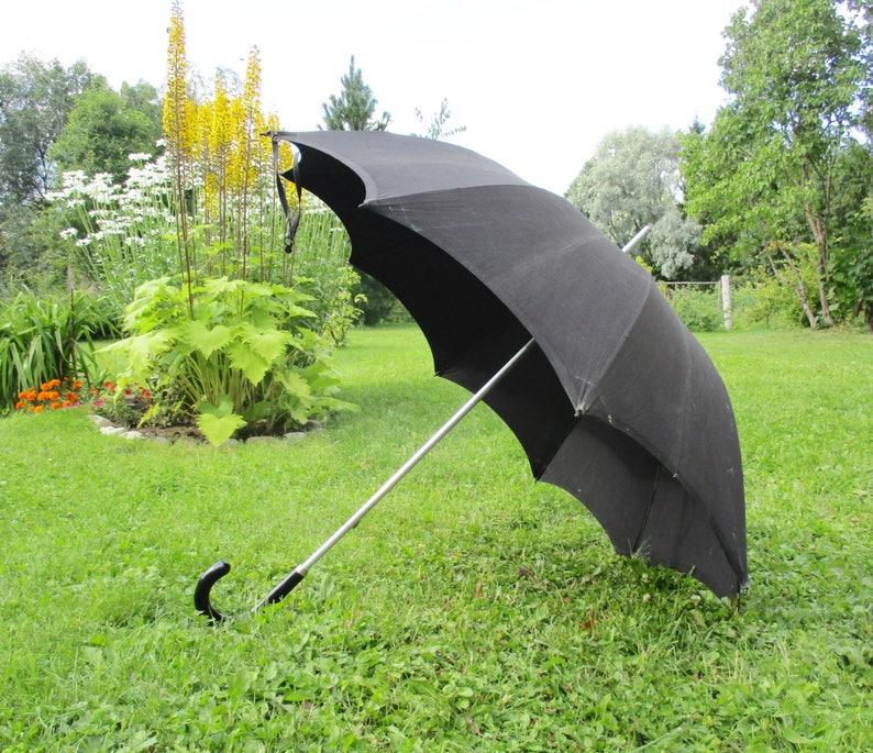 5a83162c3 Antique Men's Umbrella Big Black Textile Parasol   Etsy
