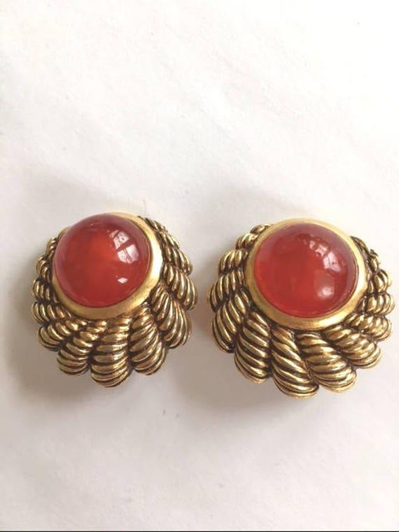 BEN-AMUN CLIP Earrings  Carnelian - Vintage - 1980
