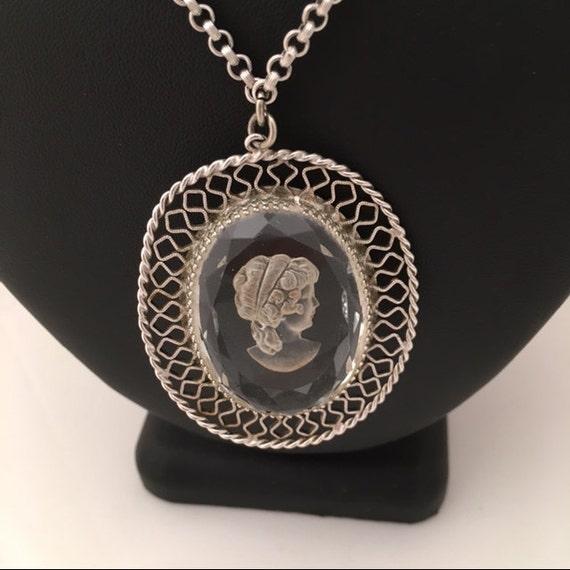 Whiting & Davis Cameo Pendant Necklace - Silverton