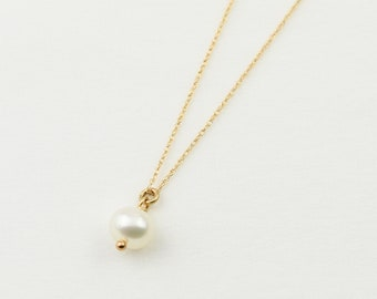 14K Gold Pearl Necklace. Pearl Necklace. 14K gold simple pearl necklace. 14K gold delicate necklace