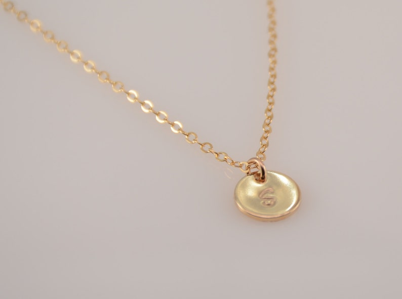 Gold disc necklace Small disc necklace Tiny disc necklace Tiny initial necklace Personalized small disc necklace