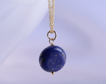 Gold lapis necklace, Gold filled lapis necklace , Lapis gemstone necklace , Blue lapis gold necklace