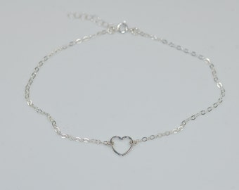 Dainty heart anklet, Sterling Silver Heart Anklet